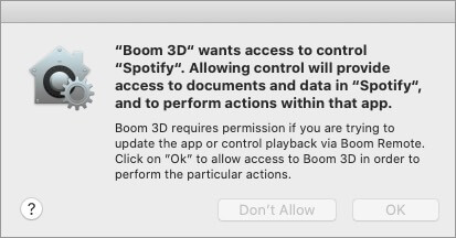 Click on OK to Allow Access to Boom 3D to Change Audio Effects on Songs inside Music App