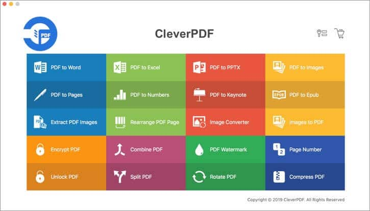 Click on PDF to Word in CleverPDF App on Mac