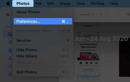 click on photos and select preferences on mac