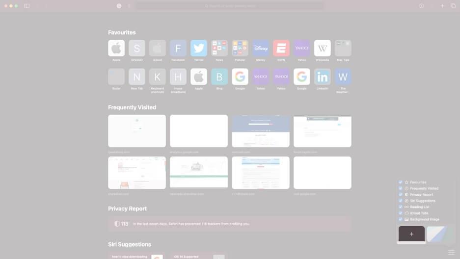 click on plus icon in pop up menu in safari on mac