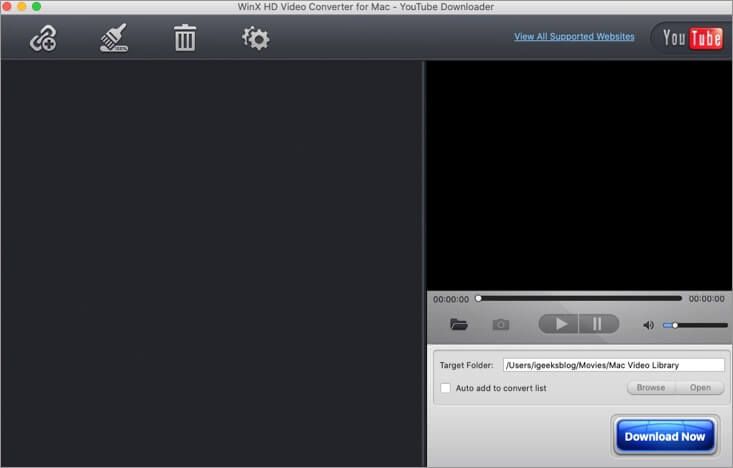 Click on Plus Icon in YouTube Downloader of WinX HD Video Converter