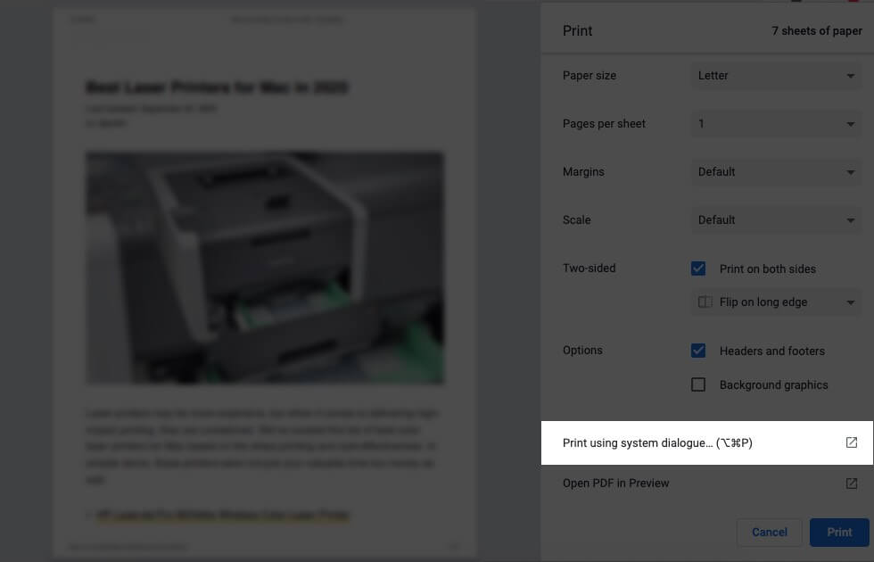 Click on Print Using System Dialogue on Mac