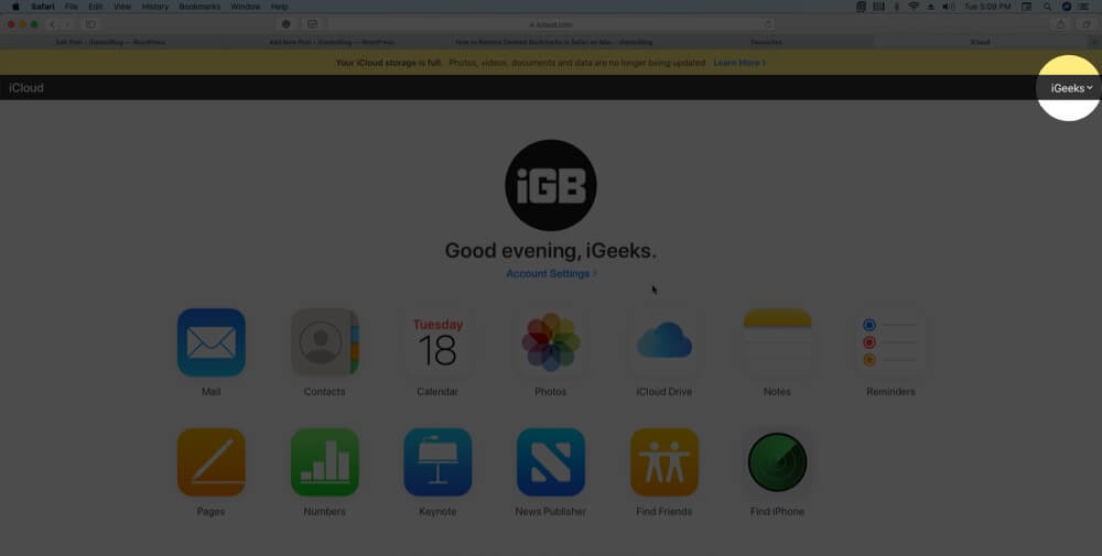 click on profile in icloud account on mac