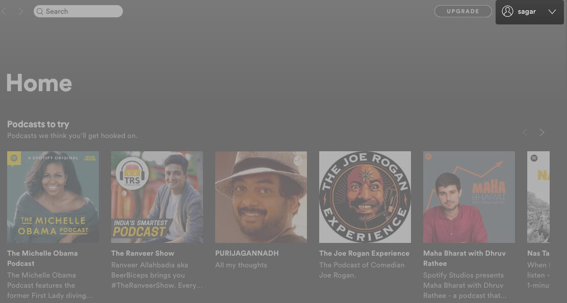 click on profile in spotify app on mac