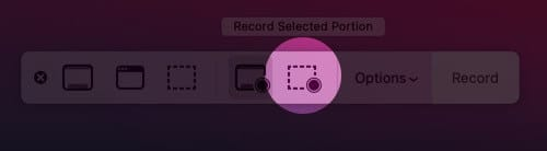 click on record selected portion icon on mac