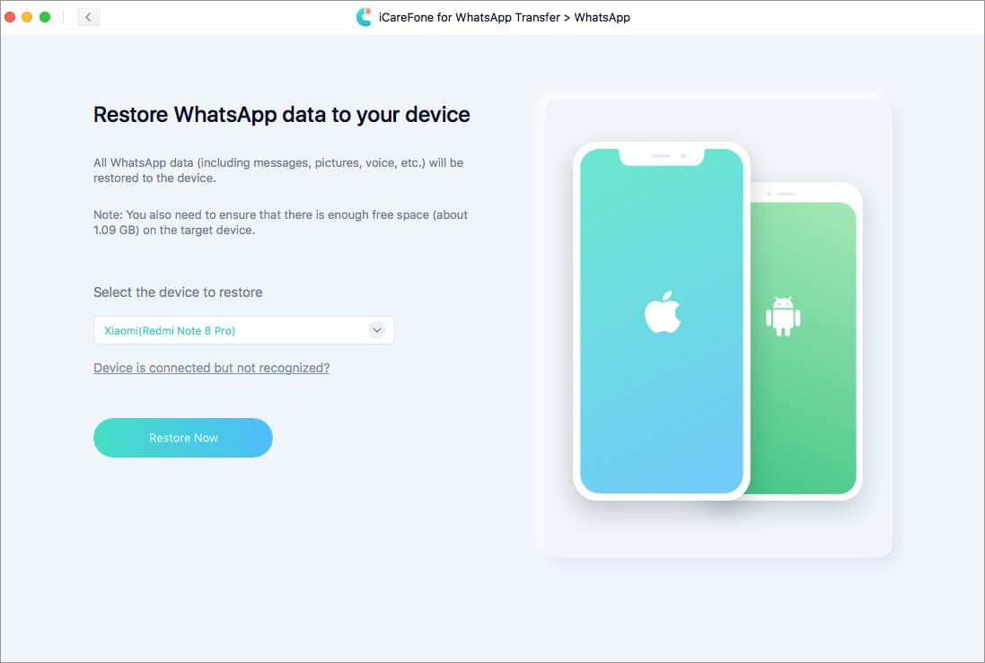click on restore now to restore whatsapp data to your device