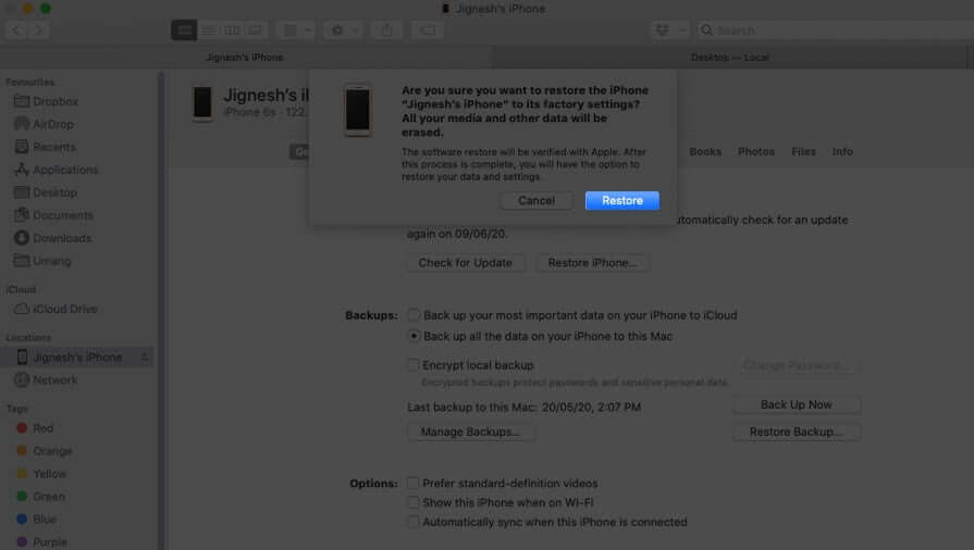 click-on-restore-to-factory-reset-iphone-using-mac