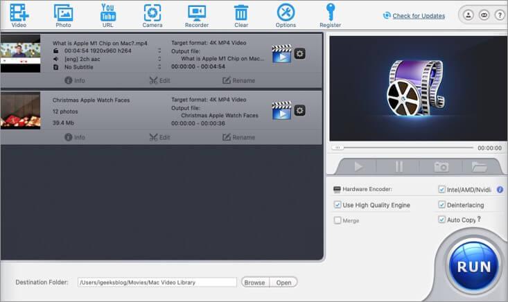 Click on Run to Create Photo Slideshow in WinX HD Video Converter on Mac