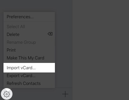 click on settings and select import vcard in icloud on mac