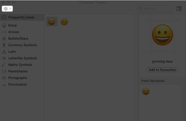 click on settings in emoji keyboard on mac