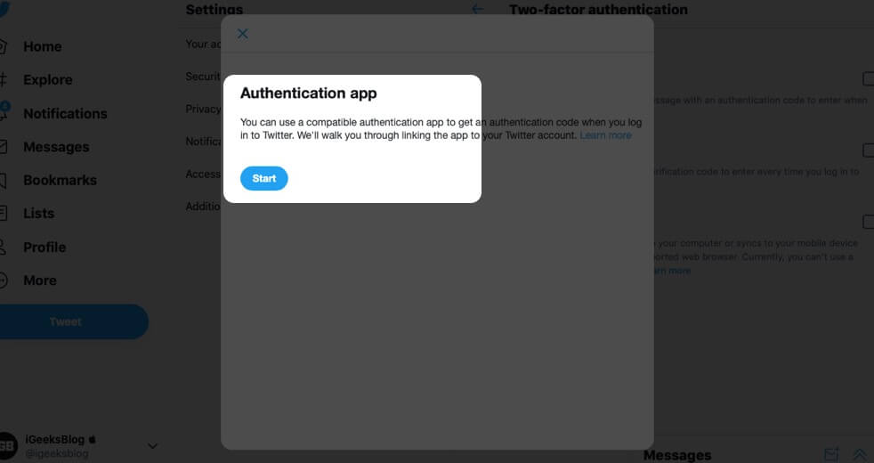 Click on Start for Authentication App in Twitter