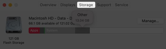 click on storage tab