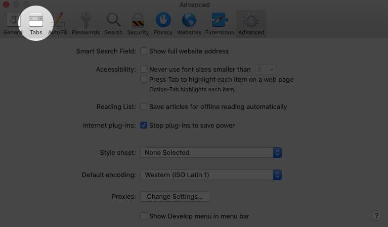 click on tabs in safari preferences on mac