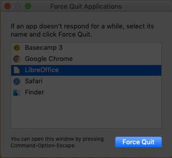 Click on the app icon, and select force quit on Mac