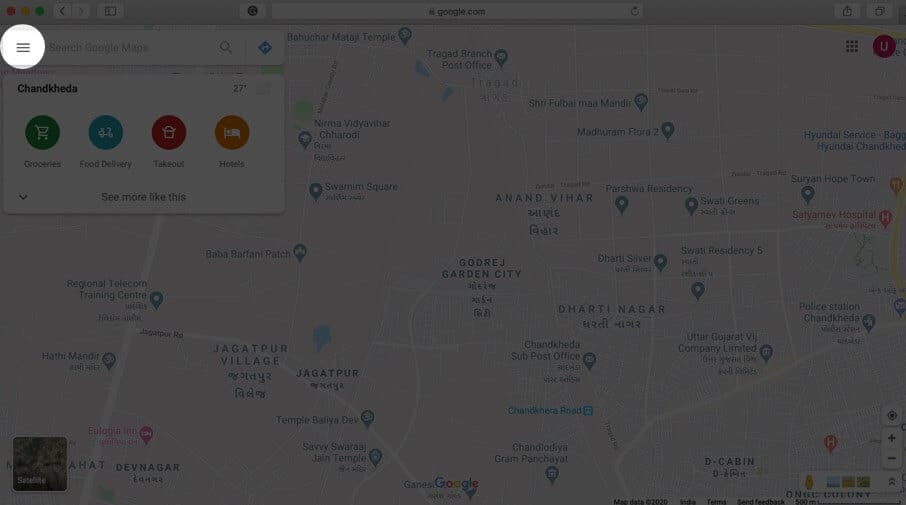 click on three lines in google maps on mac