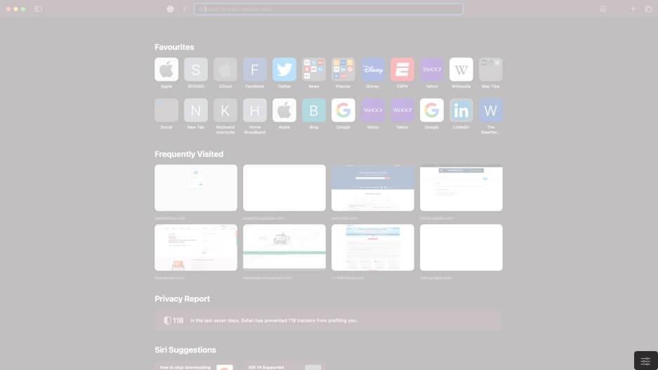 click on three toggle icon in safari on mac running macos big sur