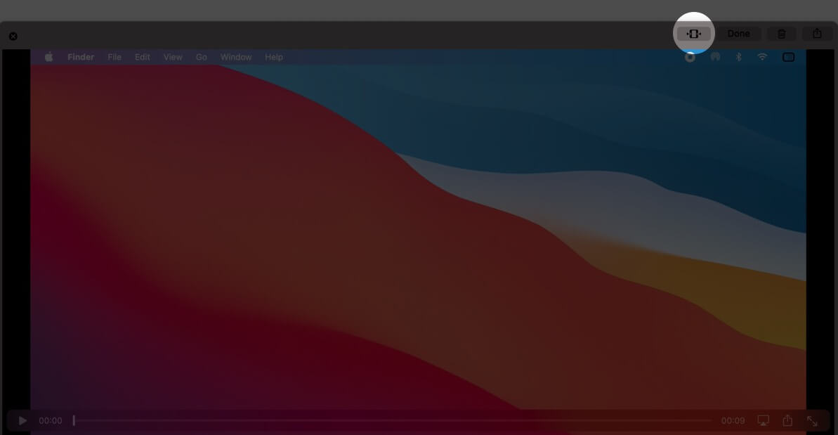 click on trim icon on mac