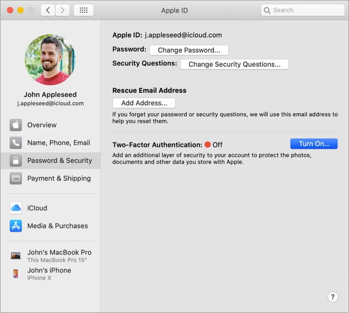 Click on Turn ON Two-Factor Authentication for Apple ID on Mac