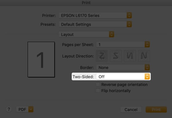 Click on Two-Sided Drop Down in File App on Mac