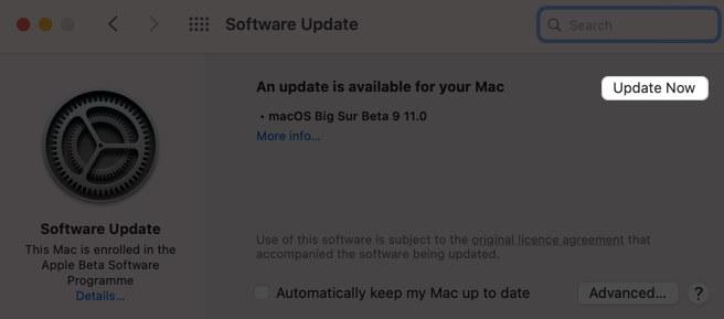 Klicken Sie auf Jetzt aktualisieren, um die Software auf dem Mac zu aktualisieren