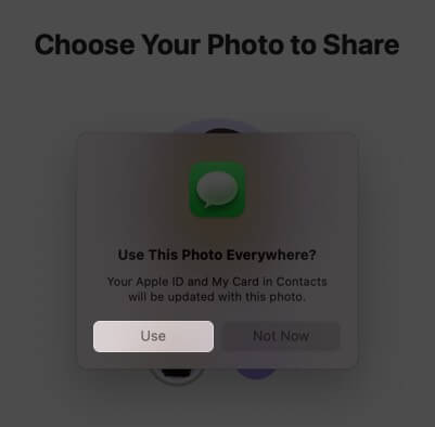 click on use to set up name and photo sharing with memoji on mac