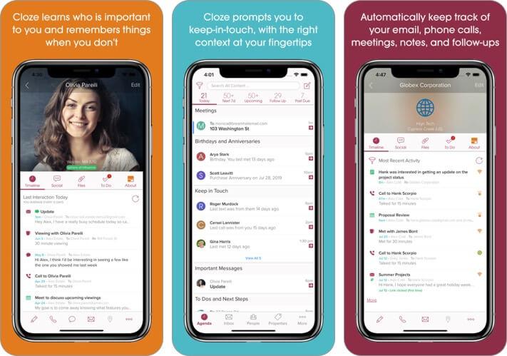 cloze relationship management iphone app screenshot