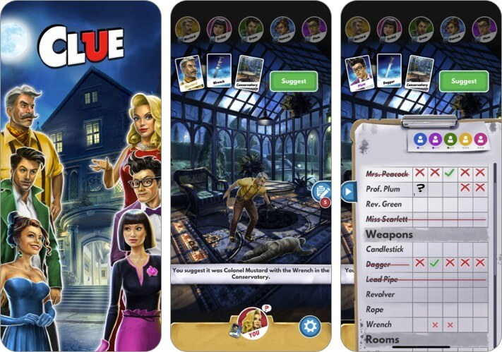 Clue The Classic Mystery Game iPhone and iPad Detective App Screenshot
