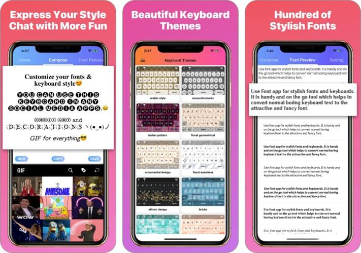 Coll Fonts Keyboard iPhone App Screenshot