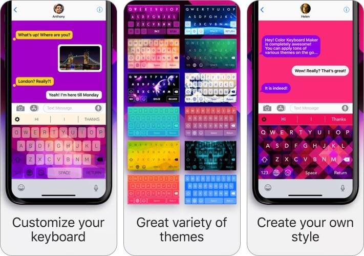 color keyboard iphone and ipad app screenshot