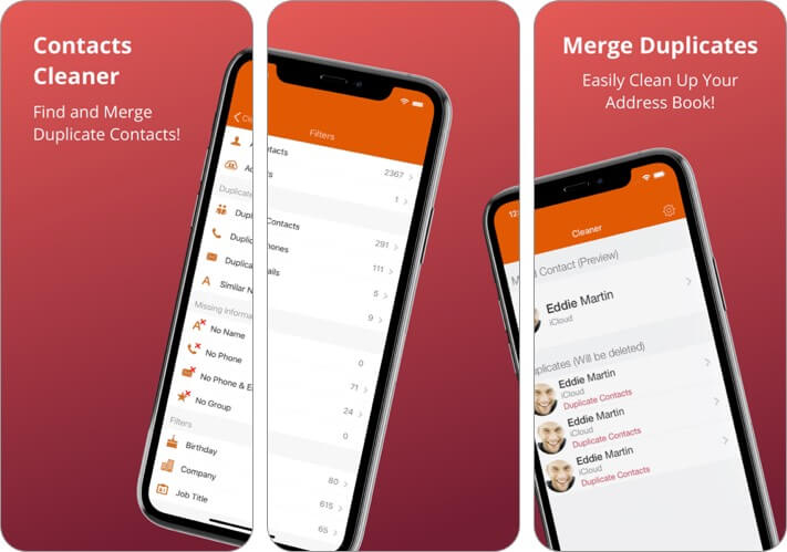 contacts cleaner iphone app screenshot