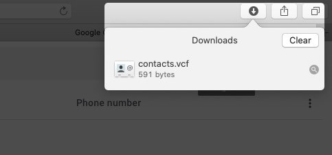 contacts vcard file is downloaded on mac