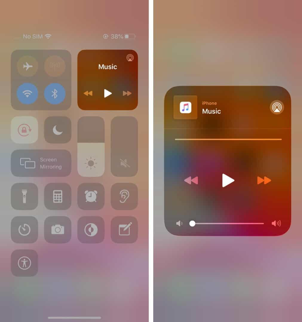 control audio from control center on iphone