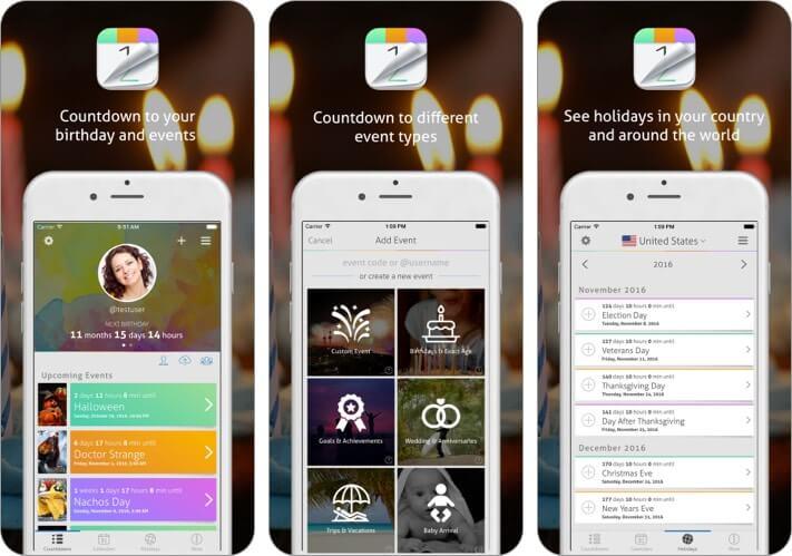 Countdown+ Calendar iPhone and iPad App Screenshot