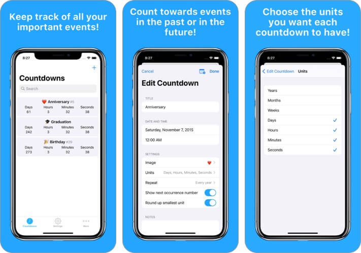 Countdowns Events iPhone and iPad App Screenshot