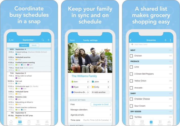 cozi family organizer iphone and ipad app screenshot