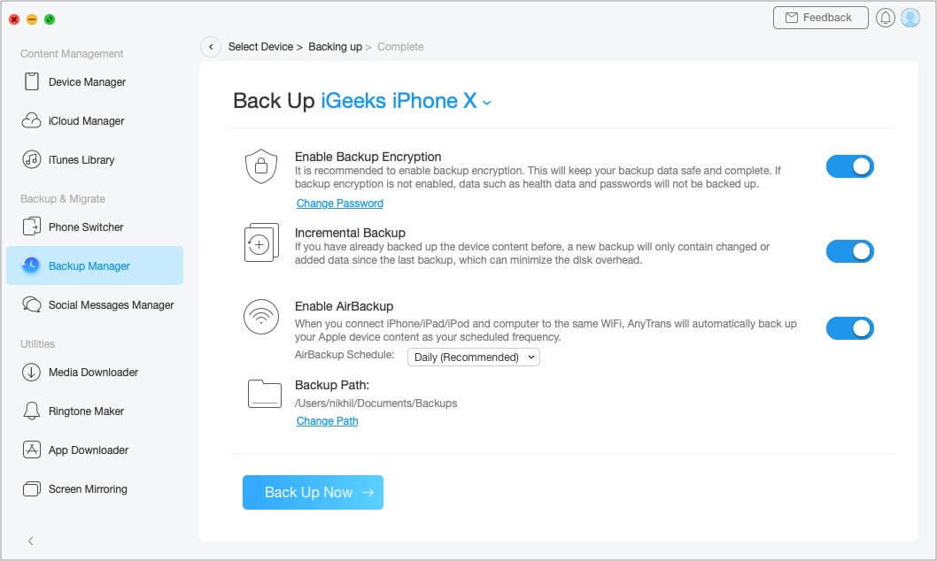 Create Full iPhone Backups with AnyTrans