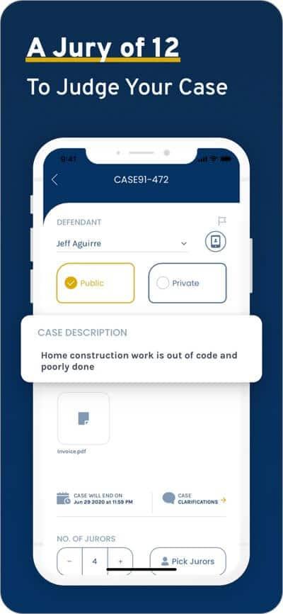 create jury on app to judge case
