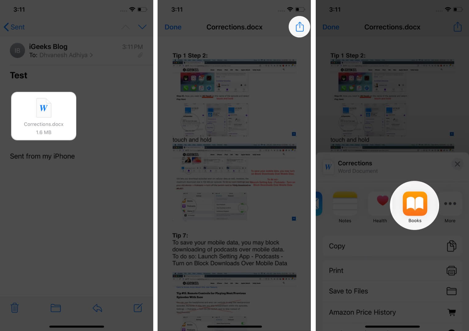 create pdf from mail attachment to books app on iphone