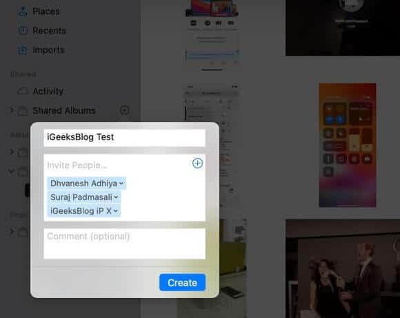 create shared album in photos app on mac