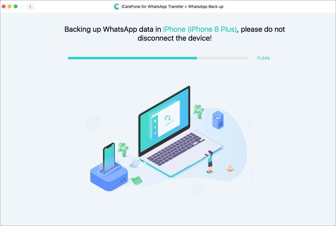 creating backup of whatsapp data in icarefone on mac