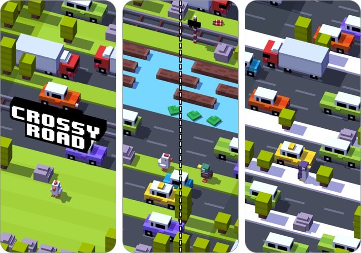 crossy road two player iphone game screenshot