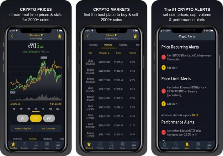 Crypto Tracker Cryptocurrency iPhone and iPad App Screenshot