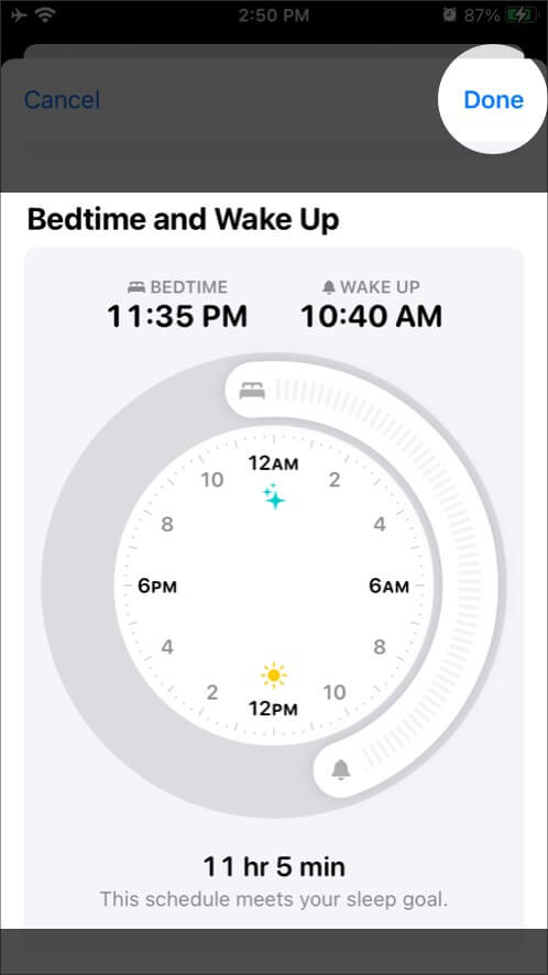 Ccustomize Bedtime and Wake up Time in Health App on iPhone