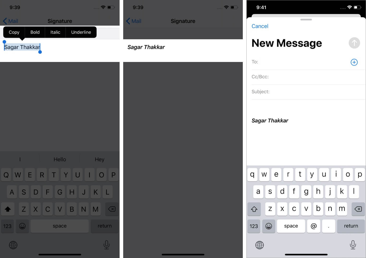 customize email signature and use it for email on iphone