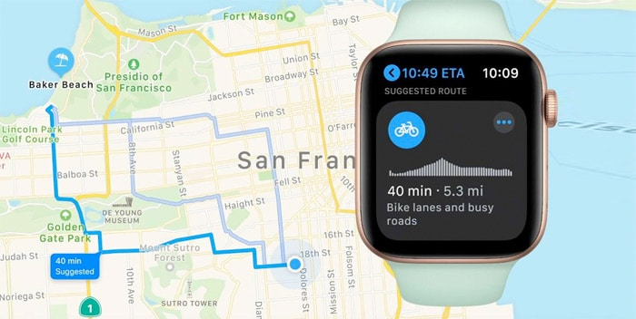 cycling in maps in watchOS 7