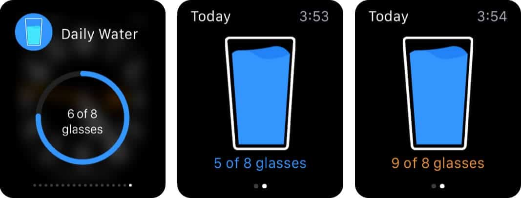 daily water drink reminder apple watch app screenshot