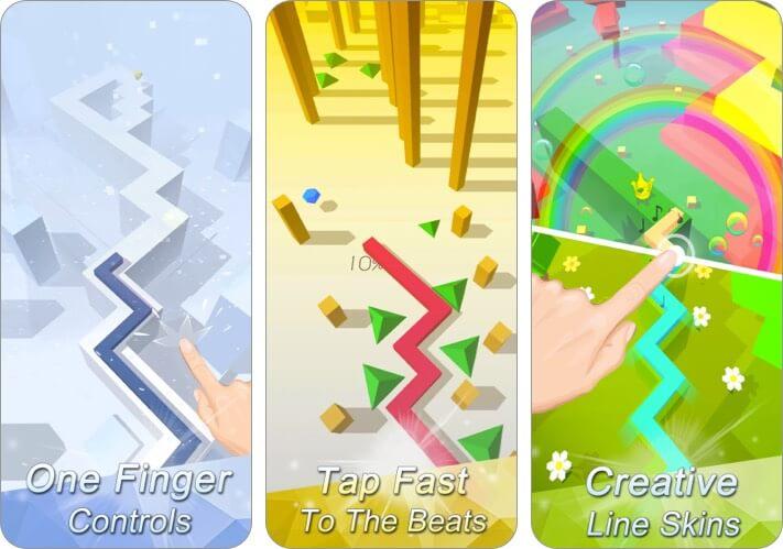 Dancing Line iPhone and iPad music game screenshot