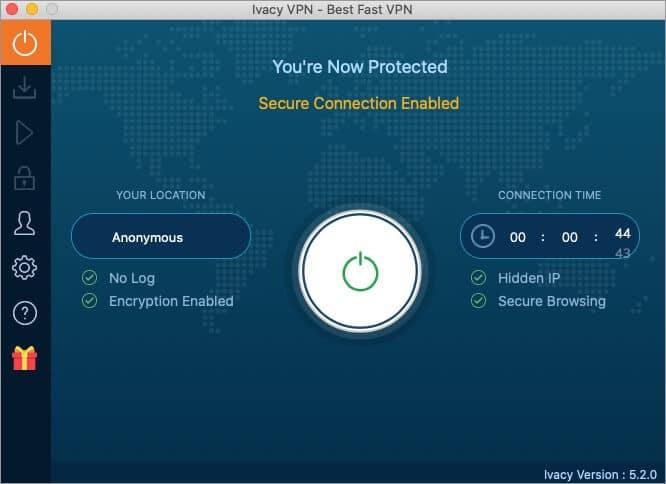dashboard of ivacy vpn