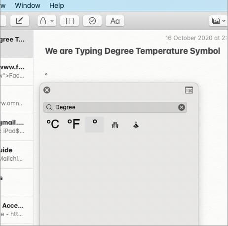 Degree Temperature Symbol is Inserted in Note on Mac