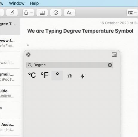 Символ градуса температуры вставлен в примечание на Mac